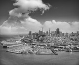 Aerial view of Downtown San Francisco skyline from helicopter, CA - 169176785