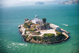 Aerial helicopter view of Alcatraz Island, San Francisco