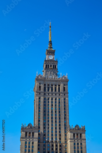 Warsaw, Poland. Palace of culture and science against blue sky - 169177120