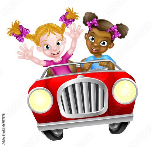 Fotobehang Auto Cartoon Girl Characters Driving Car