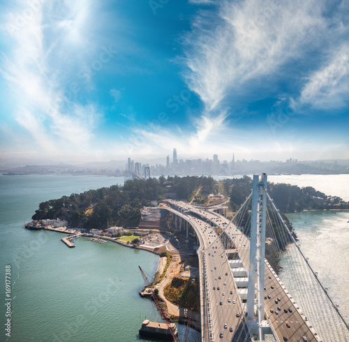 Aerial view of San Francisco-Oakland Bay Bridge from helicopter, CA