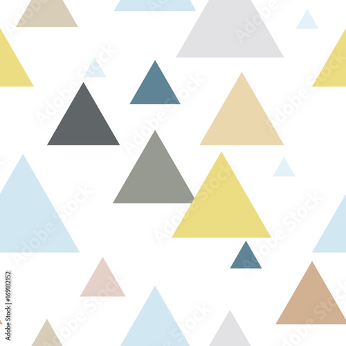 Geometric triangle seamless repeat pattern in blue, yellow, brown, gray colors. Scandinavian style. - 169182152