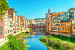 Colorful houses at river Onyar in Girona, Catalonia Spain