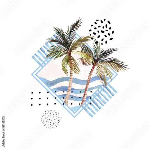 Watercolor palm tree print in geometric shape with memphis elements isolated on white background. - 169185503