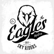 Vintage furious eagle bikers gang club vector logo concept isolated on white background. 