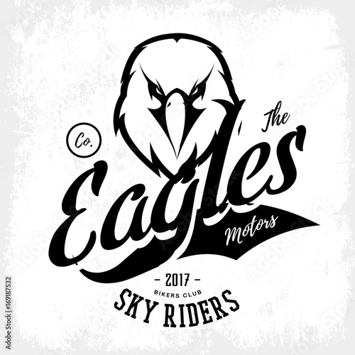 654f00ec Vintage furious eagle bikers gang club vector logo concept isolated on  white background. Street wear