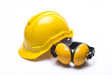 Yellow safety helmet isolated on white background. - 169192998