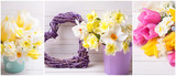 Collage from photos with  yellow  daffodils and tulips  flowers, decorative heart on  wooden planks.