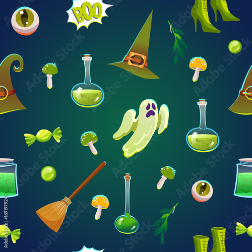 Materiał do szycia Seamless halloween pattern. Funny background with scary objects. Vector illustration with eyes, candle, toadstool, potion, pumpkin, pumpkin, witches hat in cartoon style.
