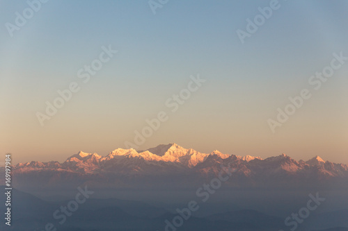 Kangchenjunga mountain in the morning with blue and orange sky that view from The Tiger Hill in winter at Tiger Hill, Darjeeling. India. - 169197984
