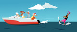 Group of active seniors riding a motorboat and water skiing, EPS 8 vector illustration