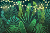Dark tropical background with garland. vector illustration - 169210926