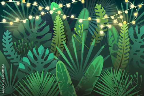 Fototapeta Dark tropical background with garland. vector illustration