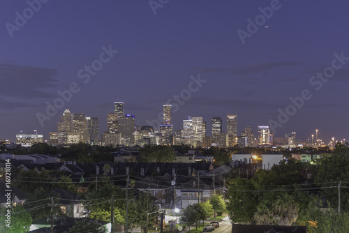 Foto op Canvas Aubergine Houston Downtown at Night 3