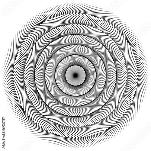Circular geometric motif. Abstract grayscale op-art element - 169222737