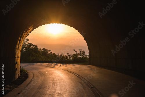 Sunrise through tunnel on the Blue Ridge Parkway, North Carolina