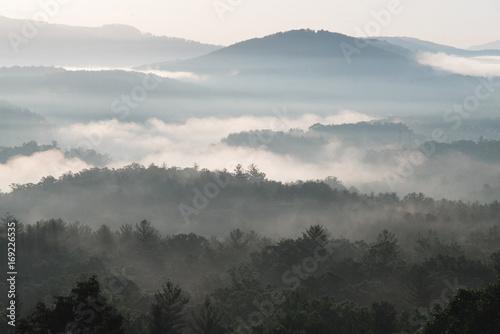 In de dag Ochtendgloren Sunrise over Blue Ridge Mountains with fog, Asheville, North Carolina