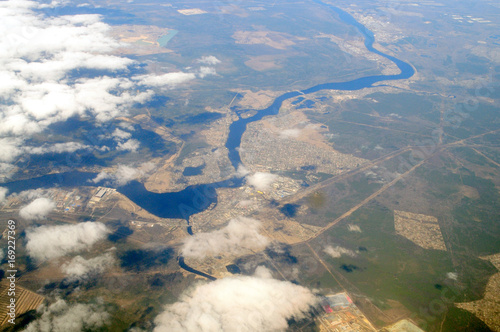 Aerial view of the river Neva and Saint Petersburg area - from great height.