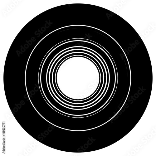 Circular geometric motif. Abstract grayscale op-art element - 169230771