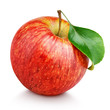 Leinwandbild Motiv One ripe red apple fruit with green leaf isolated on white background with clipping path