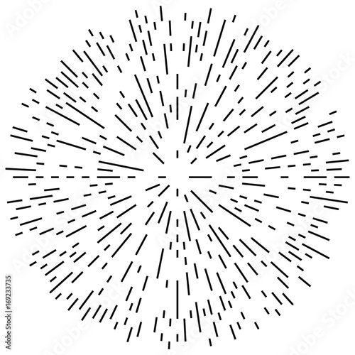 Circular geometric motif. Abstract grayscale op-art element - 169233735