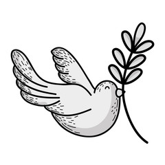 line cute dove animal with branch to peace symbol