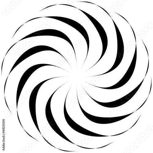 Circular geometric motif. Abstract grayscale op-art element - 169235514