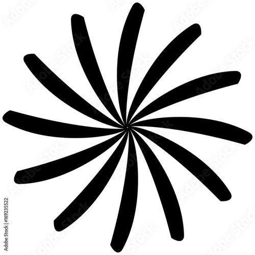 Circular geometric motif. Abstract grayscale op-art element - 169235522