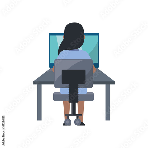 Young woman working on computer icon vector illustration graphic design