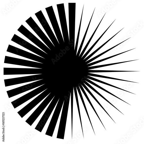 Circular geometric motif. Abstract grayscale op-art element - 169237123