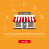Flat storefront illustration and linear icons set. - 169241345