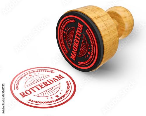 Foto op Plexiglas Rotterdam Rotterdam red grunge round stamp isolated on white Background