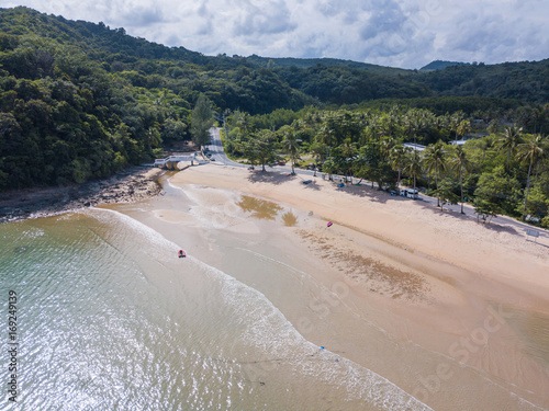 Aerial view or top view of tropical island beach