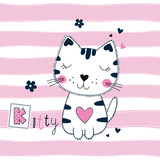 Cute vector illustration with funny cat for kids design