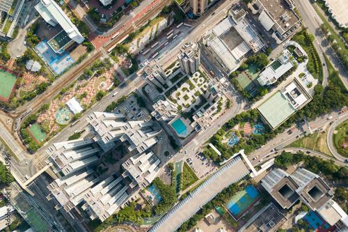 Top view of Hong Kong cityscape