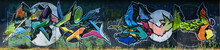 """Постер, картина, фотообои """"The old wall, painted in color graffiti drawing with aerosol paints. Background image on the theme of drawing graffiti and street art"""""""