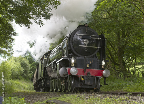 Steam engine pulling a train up a steep Cornish incline, England, UK Poster