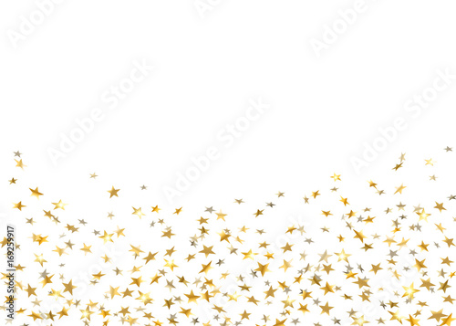 Gold stars falling confetti isolated on white background. Golden abstract random pattern Christmas card, New Year holiday. Shiny confetti paper stars. Glitter explosion on floor Vector illustration