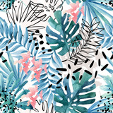 Abstract exotic leaves seamless pattern. - 169260352