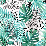 Abstract exotic leaves seamless pattern. - 169260372