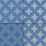 Geometric backgrounds. Set of blue seamless patterns