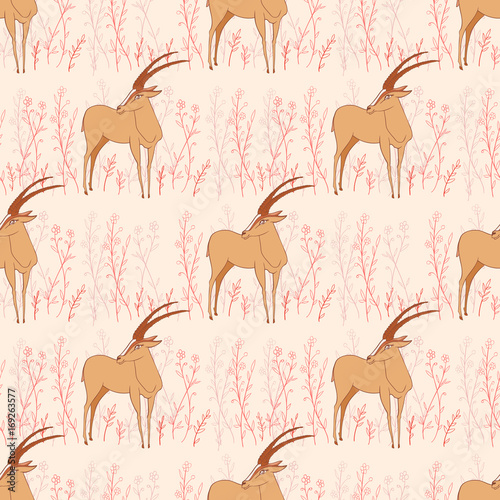 Seamless pattern, Decorative Gazelle hand drawn vector cartoon doodle animal illustration, African safari antelope with curved horn standing among flower isolated on white background, for design paper