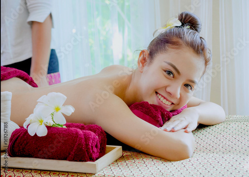 Fotobehang Spa Beautiful Asian woman receiving massage in spa salon,Healthy Lifestyle