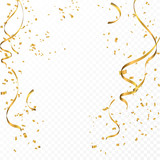 Celebration background template with confetti and gold ribbons. - 169270398