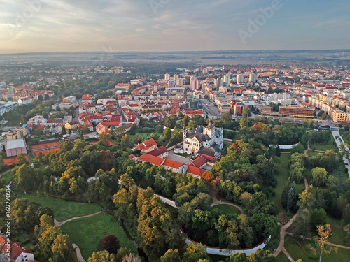 Centre of city of Pardubice and Castle Pardubice from airplane