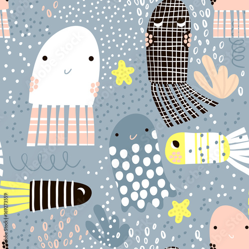 Materiał do szycia Seamless pattern with sea animal jelly fish, fish. Undersea Childish texture for fabric, textile. Vector background