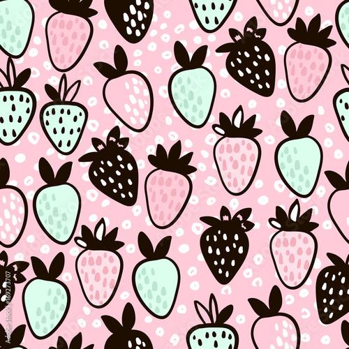 Fototapeta Seamless pattern with hand drawn strawberry. Cute pink childish background. Vector Illustration.