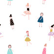Seamless pattern with fashion girls. Modern style flat vector background. - 169273932
