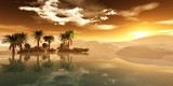 Beautiful oasis in the sandy desert, panorama of the desert landscape, sunset over the sands, 3D rendering - 169281712