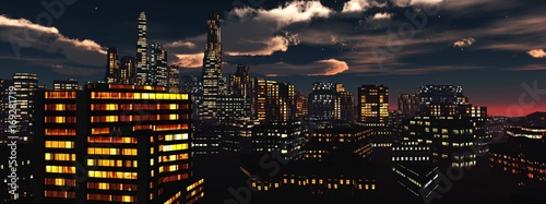 Fotobehang Zwart beautiful view of the night city, panorama of the night city, clouds over skyscrapers, 3d rendering